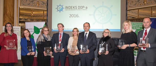 8. konferencija o društveno odgovornom poslovanju, dodijeljene nagrade Indeks DOP-a 2016. 1 - hrpsor Hrvatski poslovni savjet za održivi razvoj